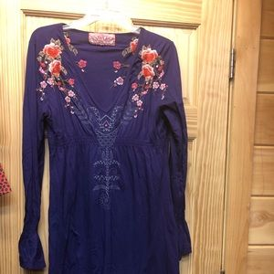 Johnny Was purple dress with embroidery